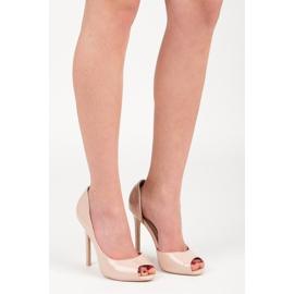 Seastar Lacquered open toe heels brown 6