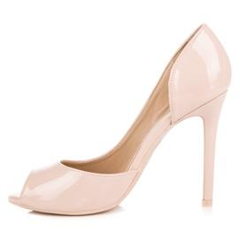 Seastar Lacquered open toe heels brown 3