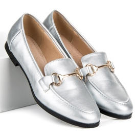 Vices Silver slip-on loafers grey 6