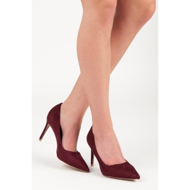 Vices Burgundy suede high heels multicolored 2