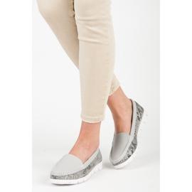 Vinceza Leather snakeprint moccasins grey 2