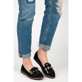 Seastar Suede Loafers With Fringes black 5