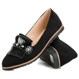 Seastar Suede Loafers With Fringes black 2