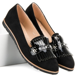 Seastar Suede Loafers With Fringes black 1