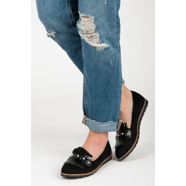 Seastar Suede Loafers With Fringes black 6