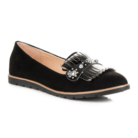 Seastar Suede Loafers With Fringes black 3