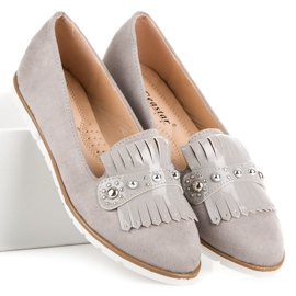 Seastar Suede Loafers With Fringes grey 4
