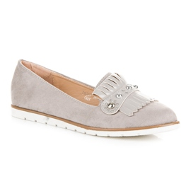Seastar Suede Loafers With Fringes grey 1