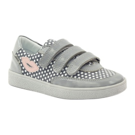 Bartek Gray Velcro Boots On Dots 35651 pink grey white 1