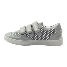 Bartek Gray Velcro Boots On Dots 35651 pink grey white 2