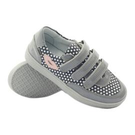 Bartek Gray Velcro Boots On Dots 35651 pink grey white 3