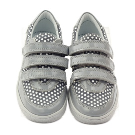Bartek Gray Velcro Boots On Dots 35651 pink grey white 4