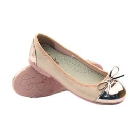American Club Ballerinas shoes with an American bow pink yellow white 3