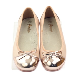 American Club Ballerinas shoes with an American bow pink yellow white 4
