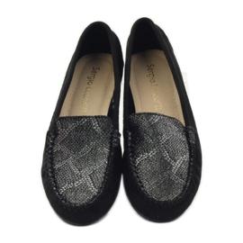 Shoes suede moccasins Sergio Leone 721 black grey 4