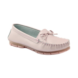 Leather moccasins with Filippo 004 bow pink 1