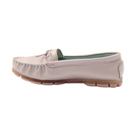 Leather moccasins with Filippo 004 bow pink 2