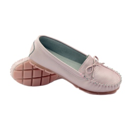 Leather moccasins with Filippo 004 bow pink 3