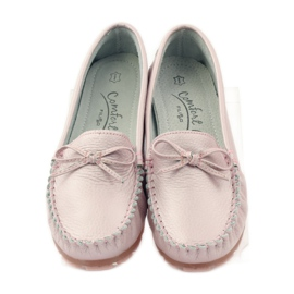 Leather moccasins with Filippo 004 bow pink 4
