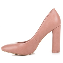 Ideal Shoes Pink pumps on the post 6