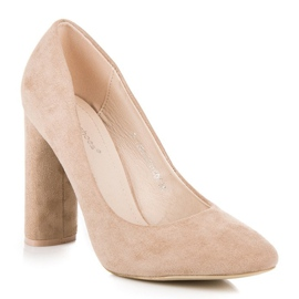 Ideal Shoes Elegant pumps on the post brown 4