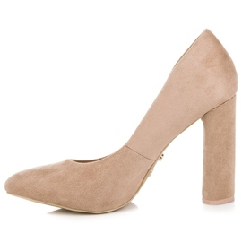 Ideal Shoes Elegant pumps on the post brown 5