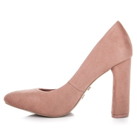 Ideal Shoes Elegant pumps on the post pink 3