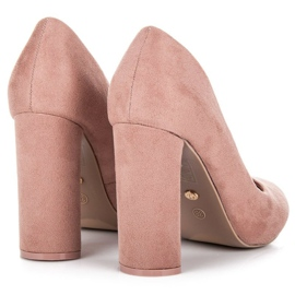 Ideal Shoes Elegant pumps on the post pink 4