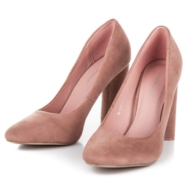 Ideal Shoes Elegant pumps on the post pink 5