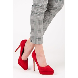 Bestelle Suede heels on the platform red 2