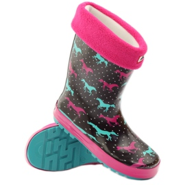 American Club Wellington boots socks + insert American horses black green pink 3