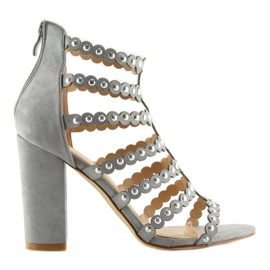 High heels with studs gray gray grey 1
