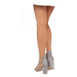 High heels with studs gray gray grey 4