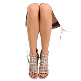 High heels with studs gray gray grey 5