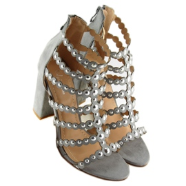 High heels with studs gray gray grey 6