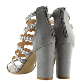 High heels with studs gray gray grey 7