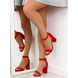 Sandals over broad heels red red 3