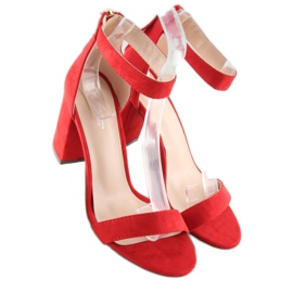 Sandals over broad heels red red 4