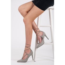 Vices Elegant high heels with a suede binding grey 2