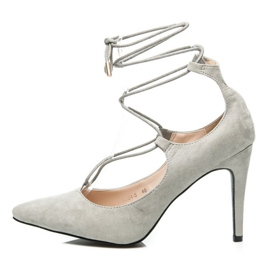 Vices Elegant high heels with a suede binding grey 1