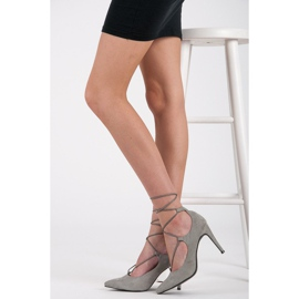 Vices Elegant high heels with a suede binding grey 3