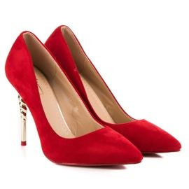 Red suede high heels 4