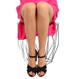Wide-heeled black sandals 100 5