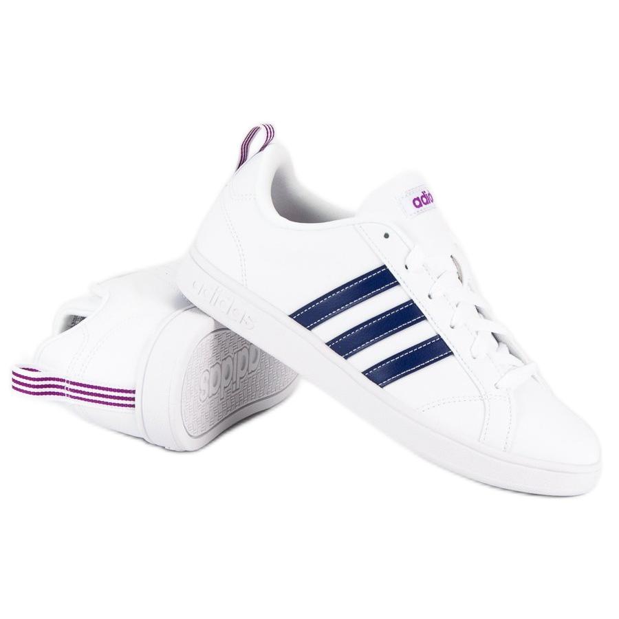 adidas advantage vs lace up sports shoes white
