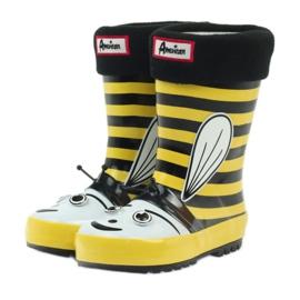 American Club American rubber boots children sock insole black yellow 3