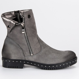 Gray Leather Boots from VINCEZA grey 3