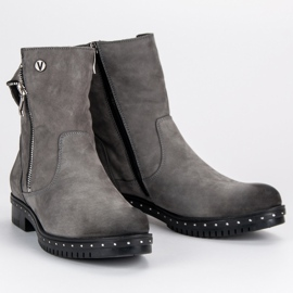 Gray Leather Boots from VINCEZA grey 6