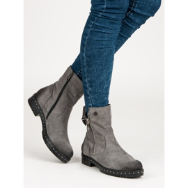 Gray Leather Boots from VINCEZA grey 2