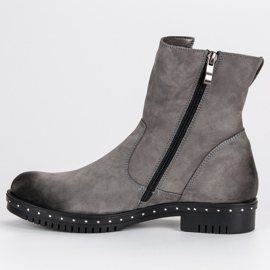 Gray Leather Boots from VINCEZA grey 4