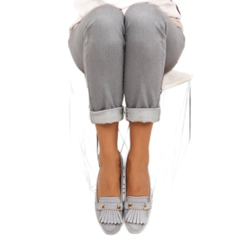 Moccasins in vintage style 3052 Gray grey 1